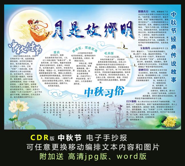 电子手抄报模板-中秋节电子小报
