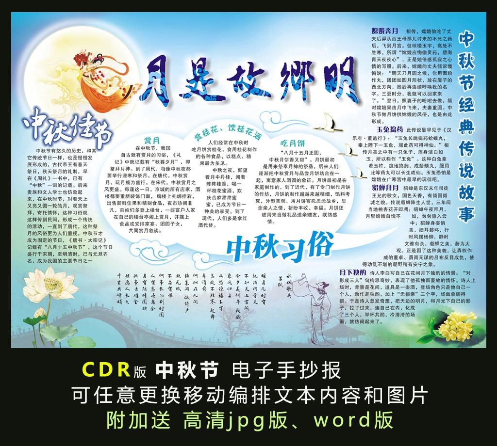 电子手抄报模板-中秋节电子小报模板下载