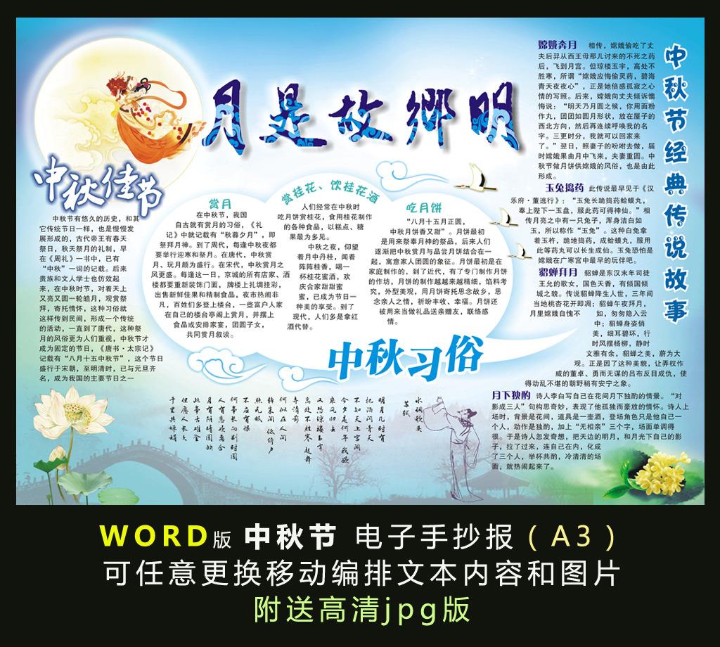 word电子手抄报模板-中秋节电子小报