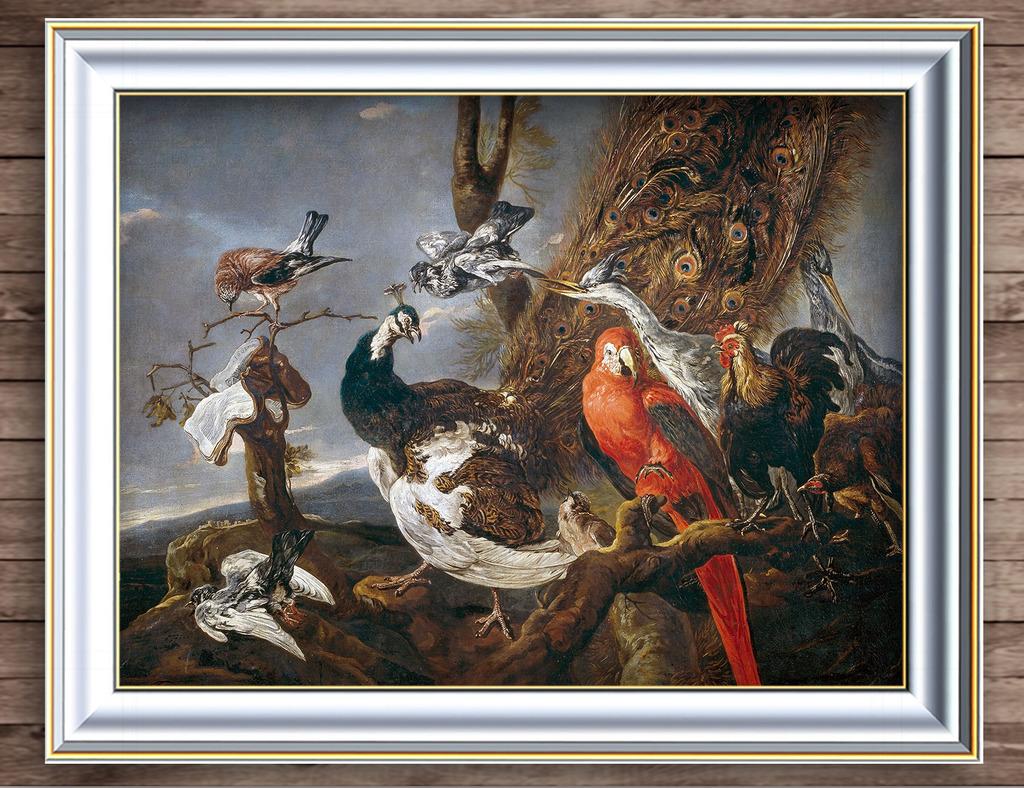 孔雀 仙鹤 鸽子 仙鹤 动物油画 古典 油画背景墙 写实 大自然 山谷