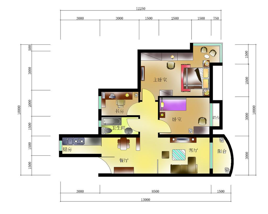 室内设计纯色调户型彩平图1