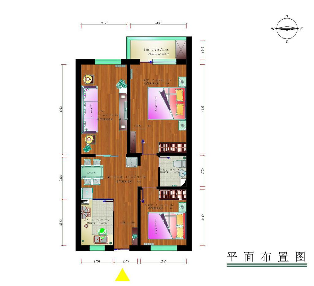 室内设计纯色调户型彩平图4