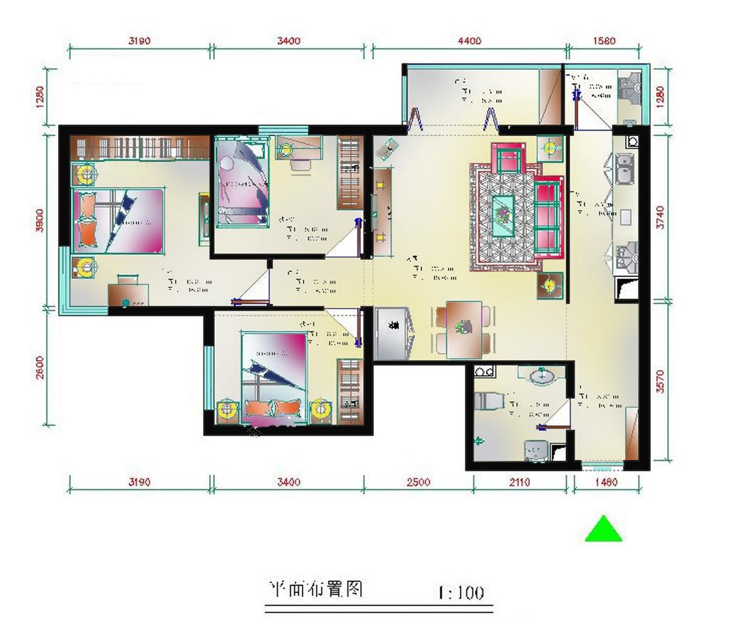 室内设计 户型图 三居室 > 室内设计纯色调户型彩平图5  下一张