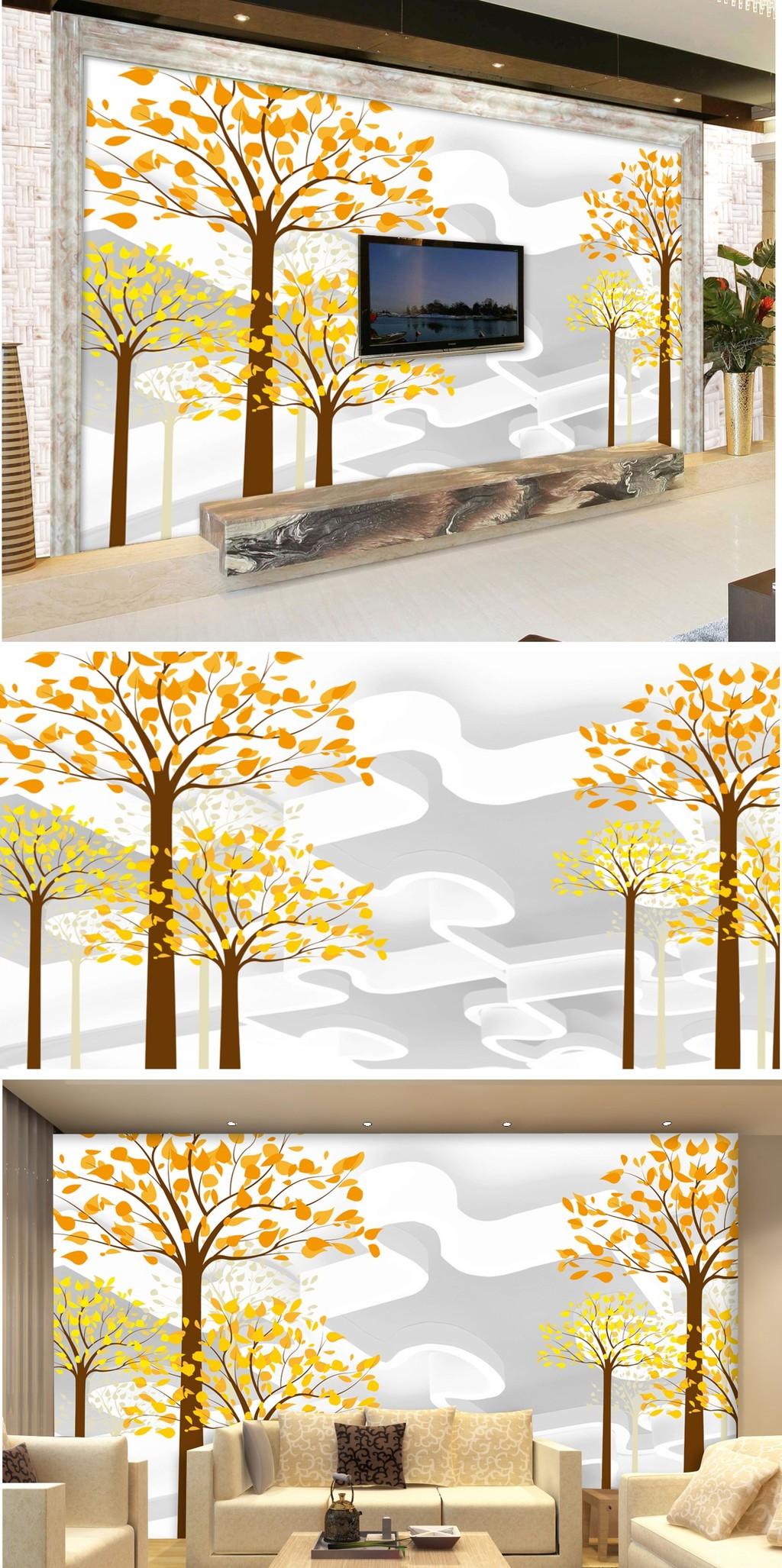 3d立体手绘大树电视背景墙装饰画设计