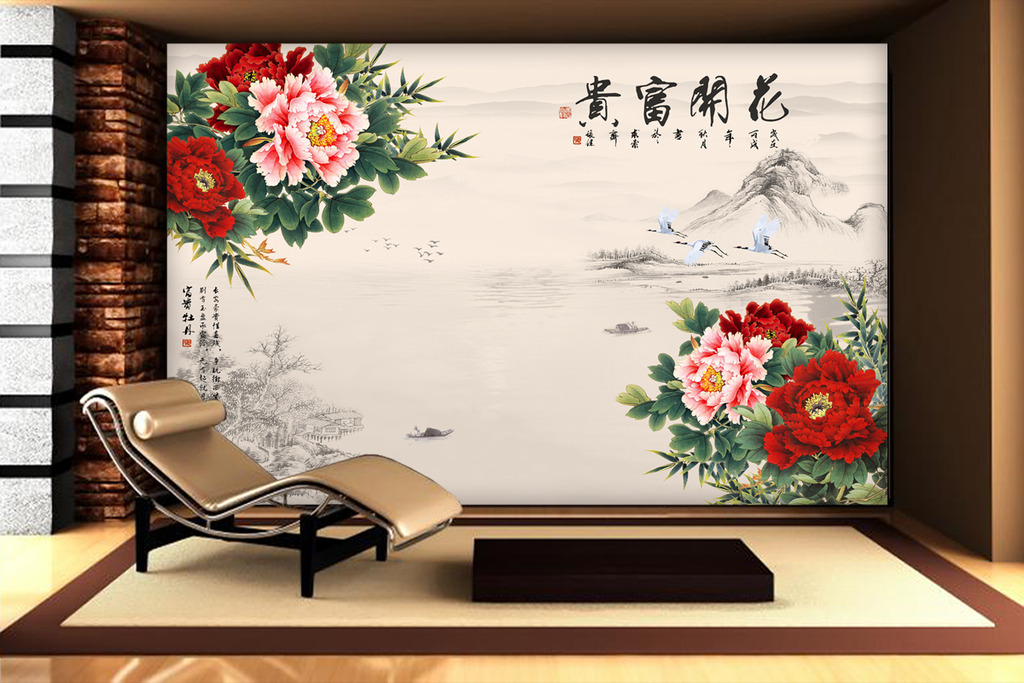 花开富贵红色牡丹仙鹤电视背景墙