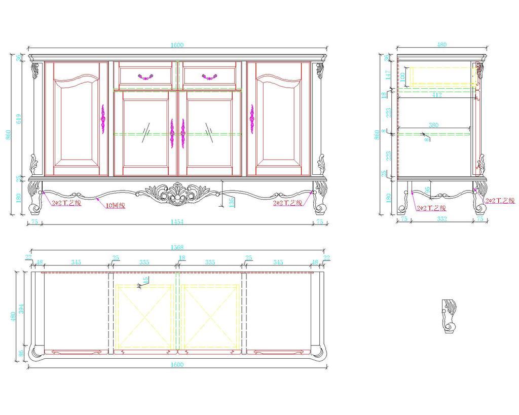 欧式家具餐柜cad图纸