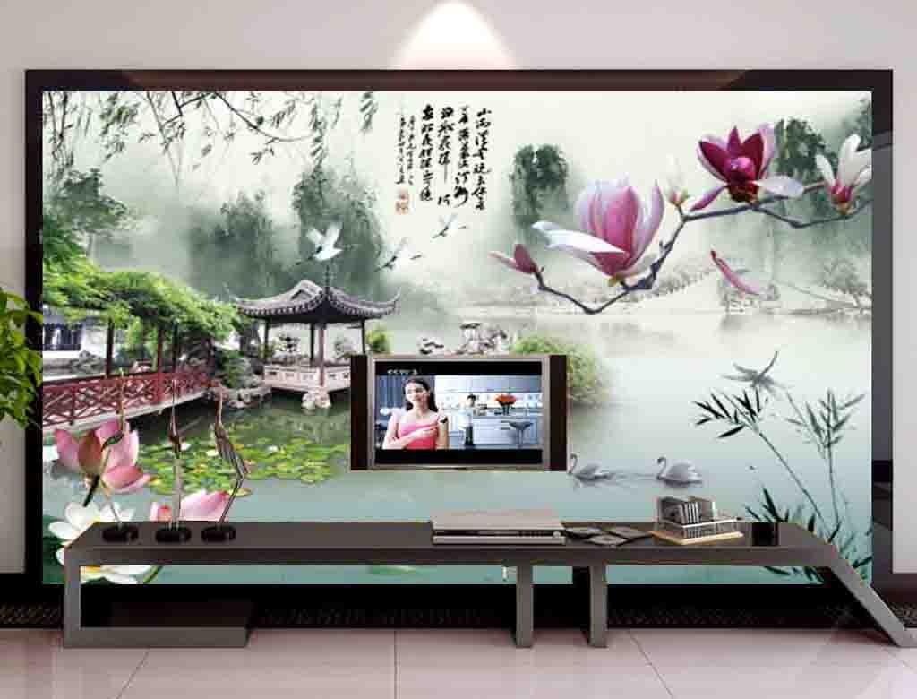 唐韵山水情山水风景电视背景墙装饰画