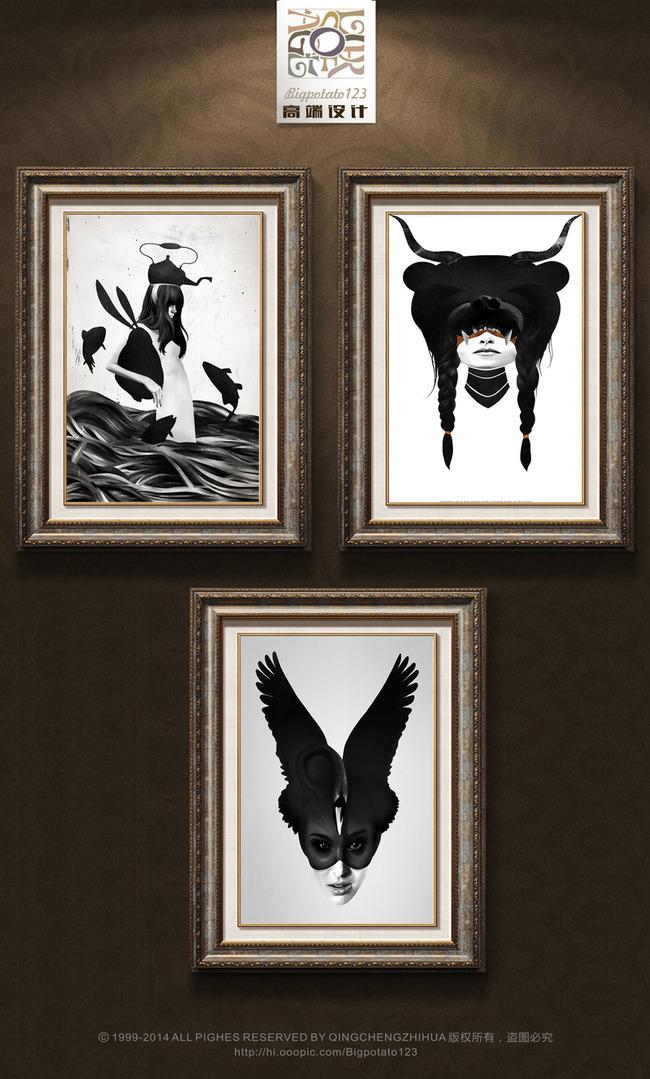 现代奇幻黑白人物装饰画