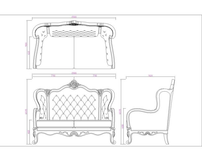 欧式沙发cad图最新