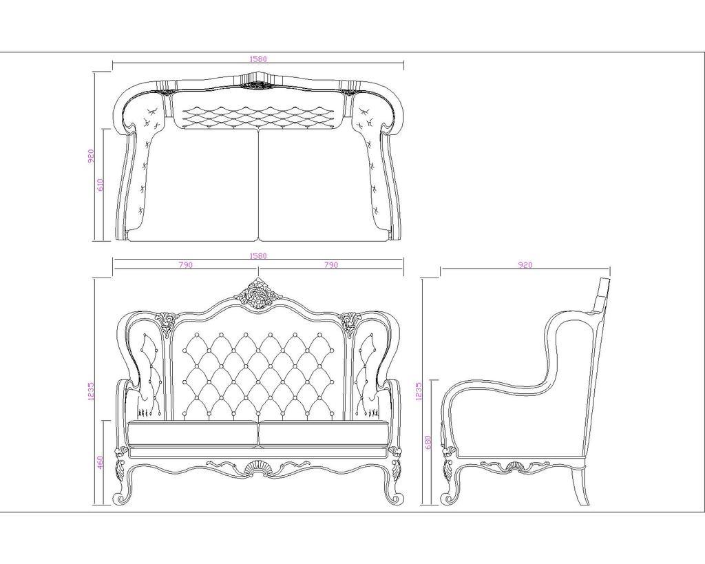欧式实木沙发cad图纸