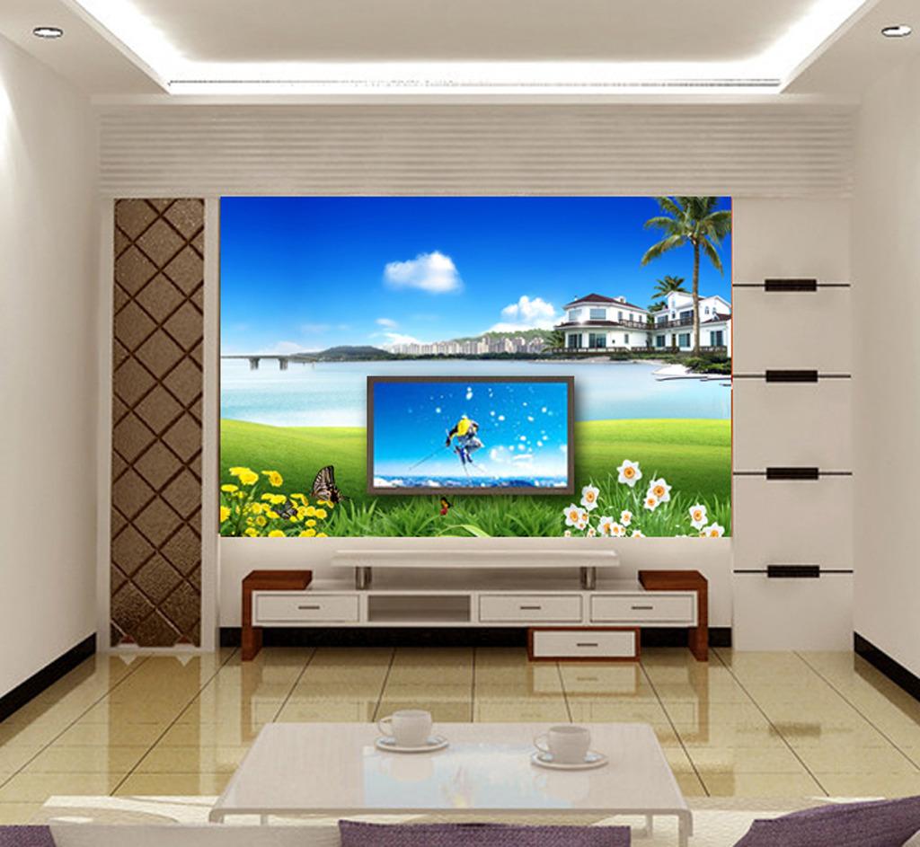 现代简约电视背景墙装饰画模板