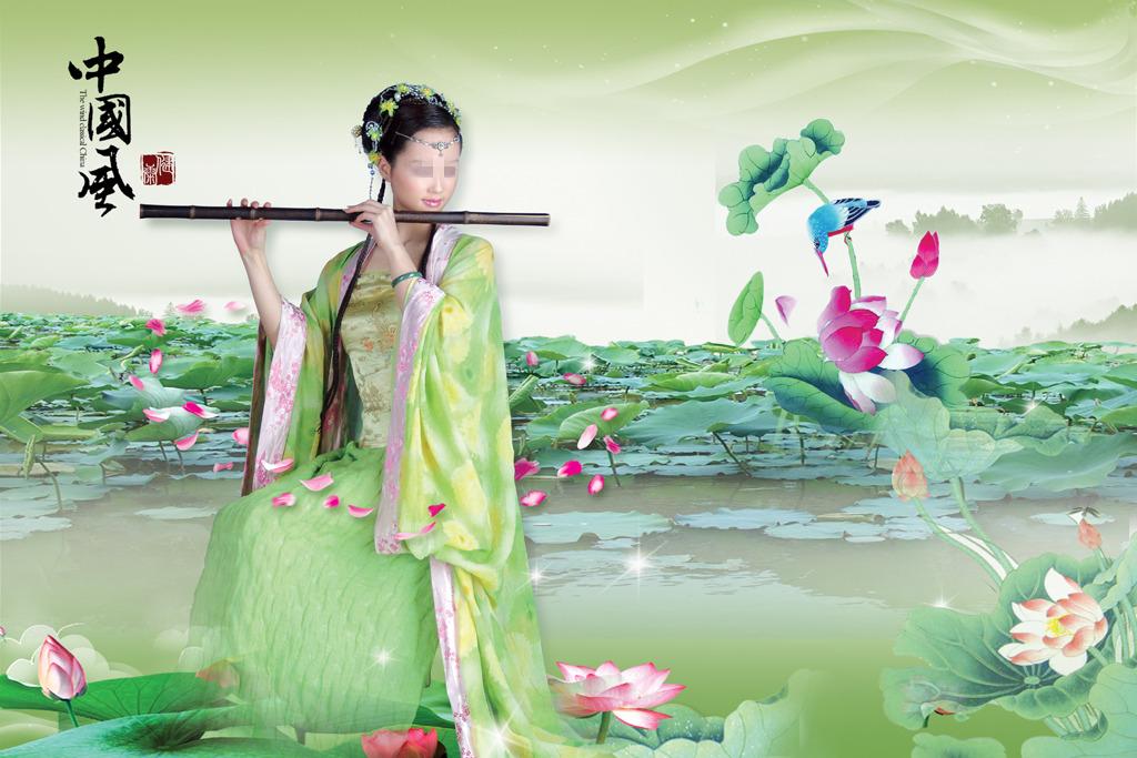 中国风古典美女荷花海报