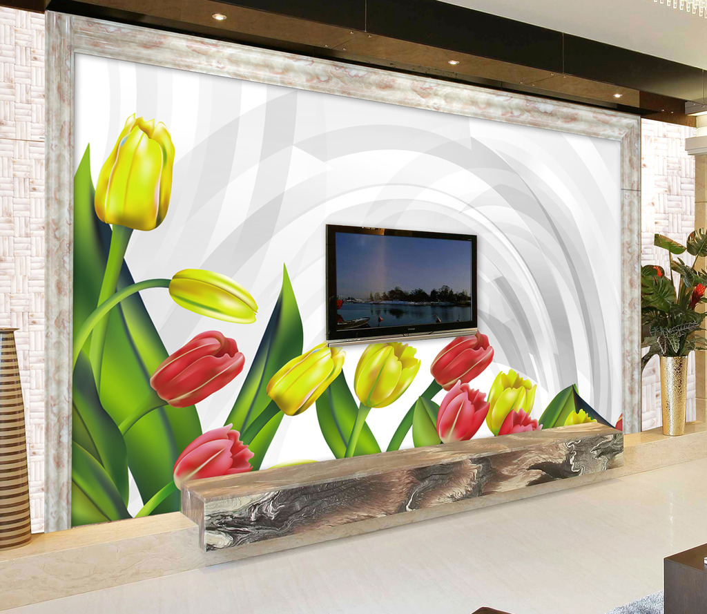 背景墙|装饰画 电视背景墙 3d电视背景墙 > 3d空间手绘郁金香壁画  下