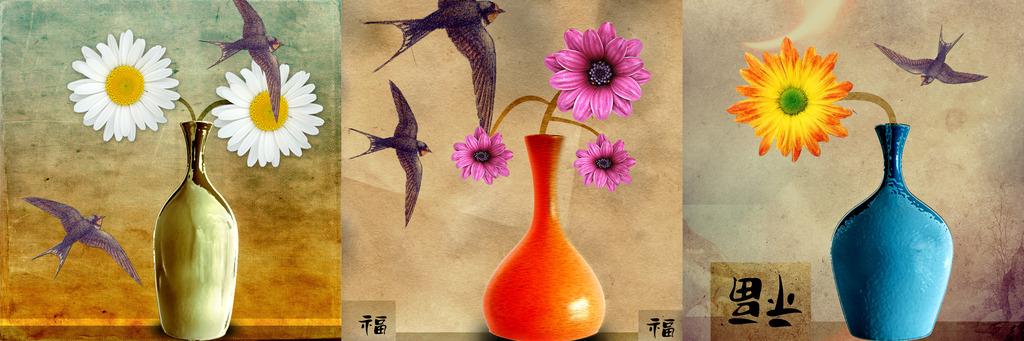 水彩花卉花瓶步骤