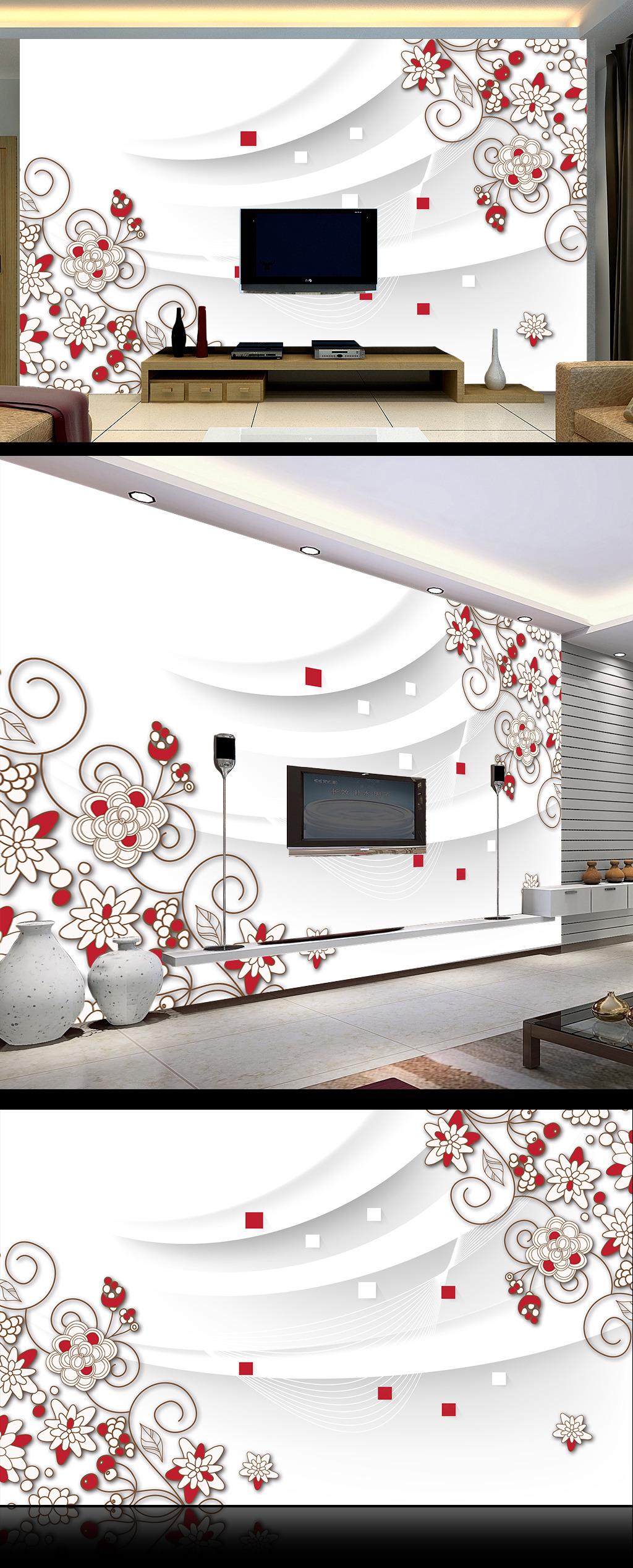 唯美手绘线描花朵3d电视背景墙
