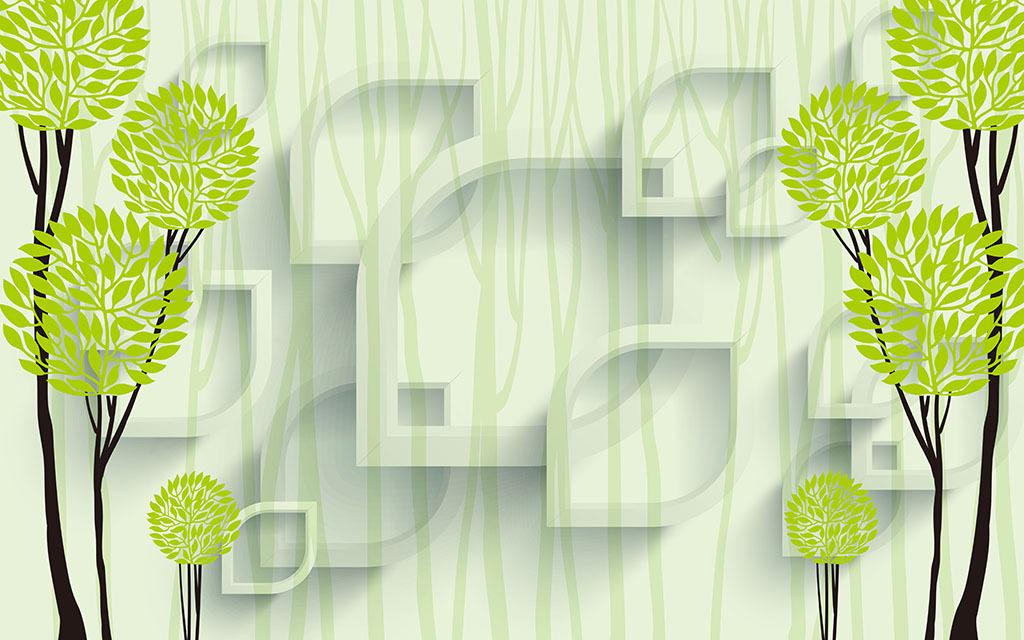 3d立体壁画抽象树