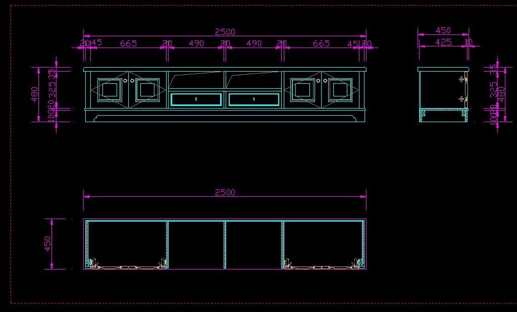 最新欧式电视柜cad设计图