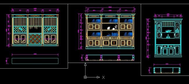 cad图库 室内设计cad图库 家具cad图纸 > 最新款式酒柜书柜图纸  下一图片