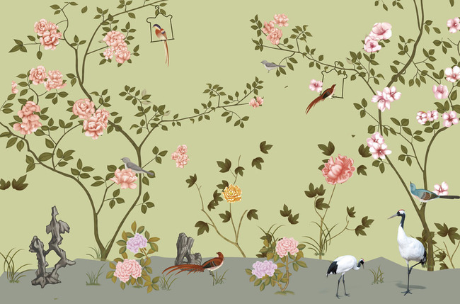 手绘花鸟高清电视背景墙装饰画