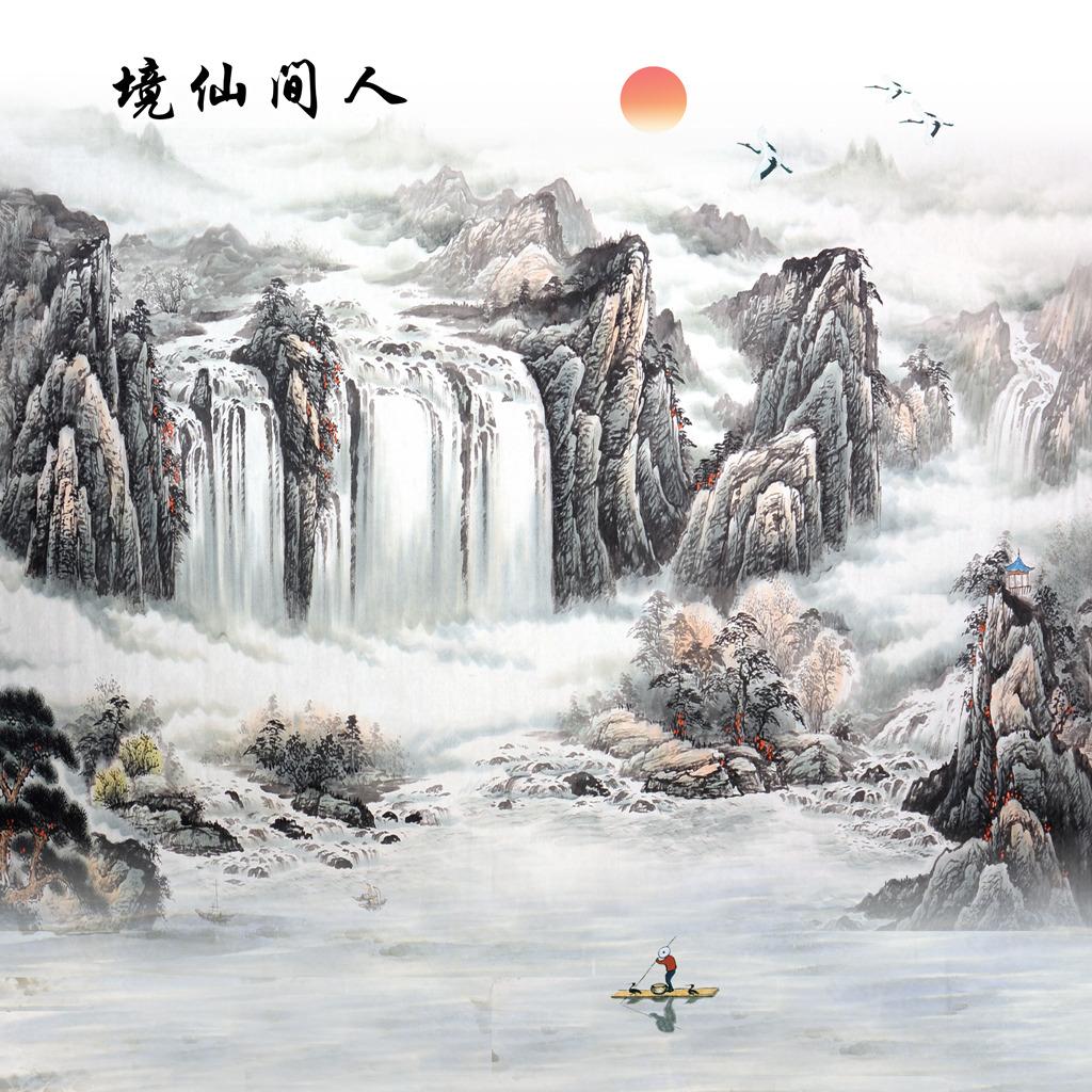 瀑布图壁画背景墙