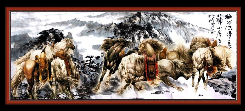 珠绣壁画 酒店壁画 大展鸿图 中式挂画 书房 宾馆 大堂 中堂画 马 挂图片