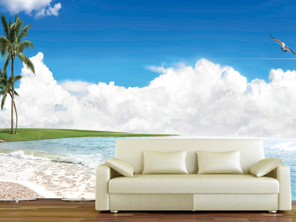 海边沙滩沙发背景墙系列高清图片下载(图片编号)电视