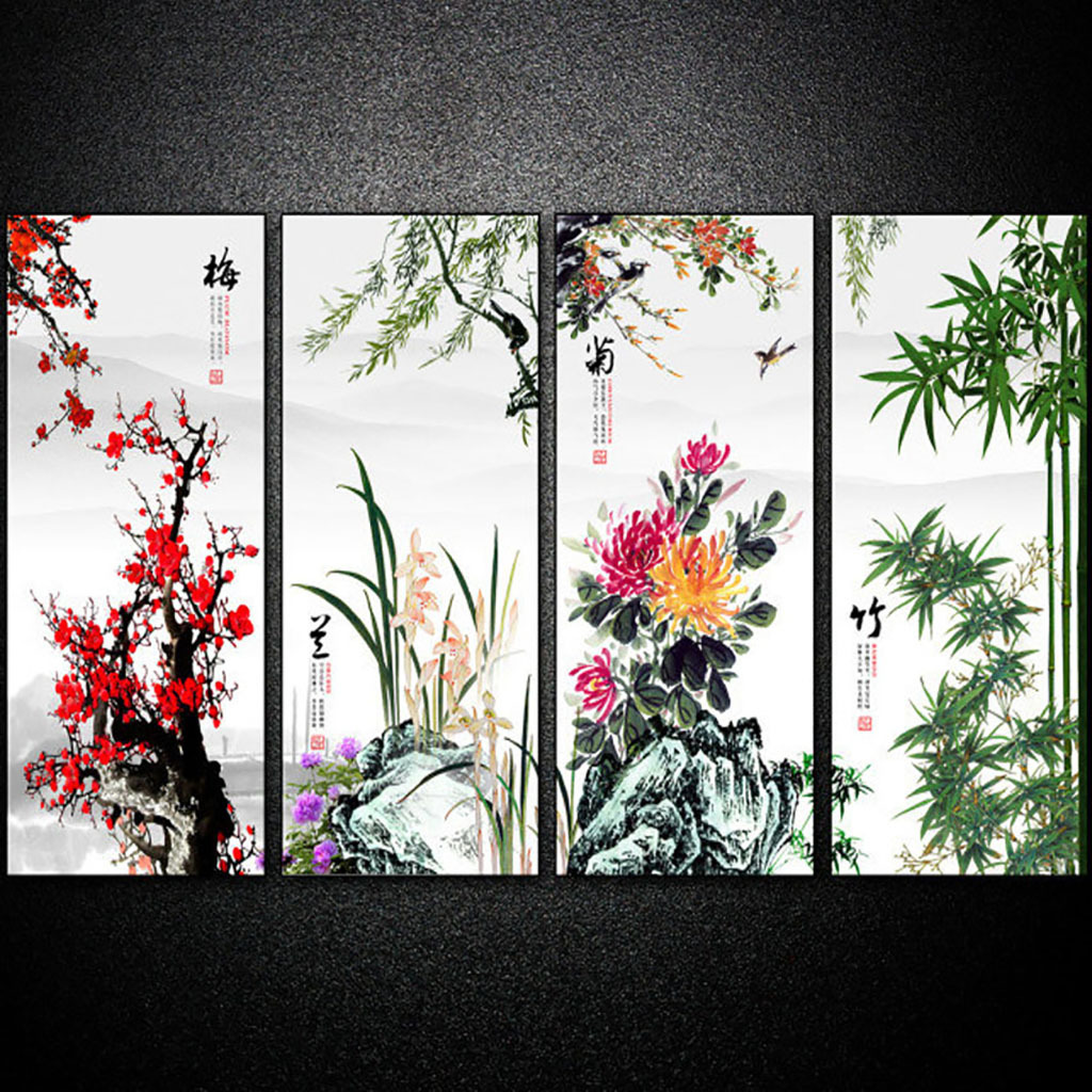 梅兰竹菊装饰画下载