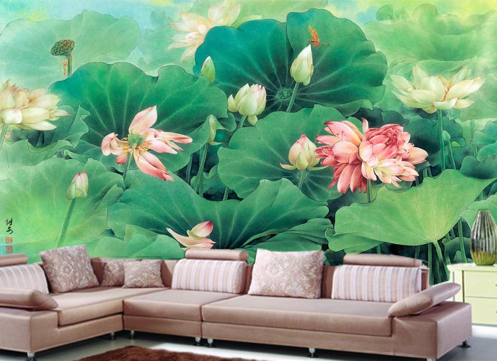 3d高清沙发背景墙工笔荷花