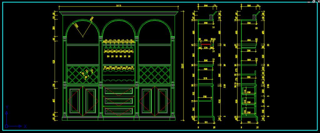 室内装饰欧式别墅客厅酒柜酒窖cad设计图图片