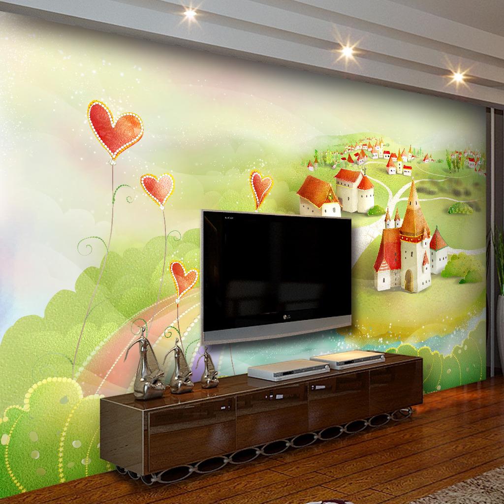 绿色草地城堡儿童房间装修壁墙纸电视背景墙