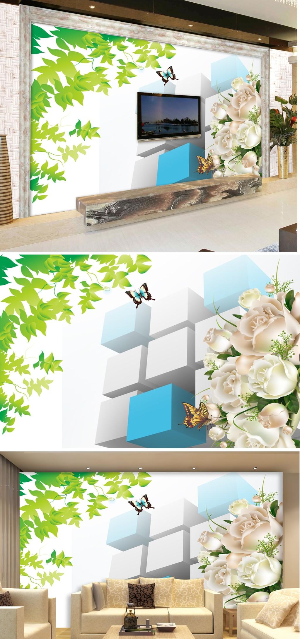 3d方块手绘树叶玫瑰花壁画