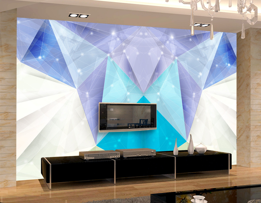 3d电视背景墙几何简约风格蓝色