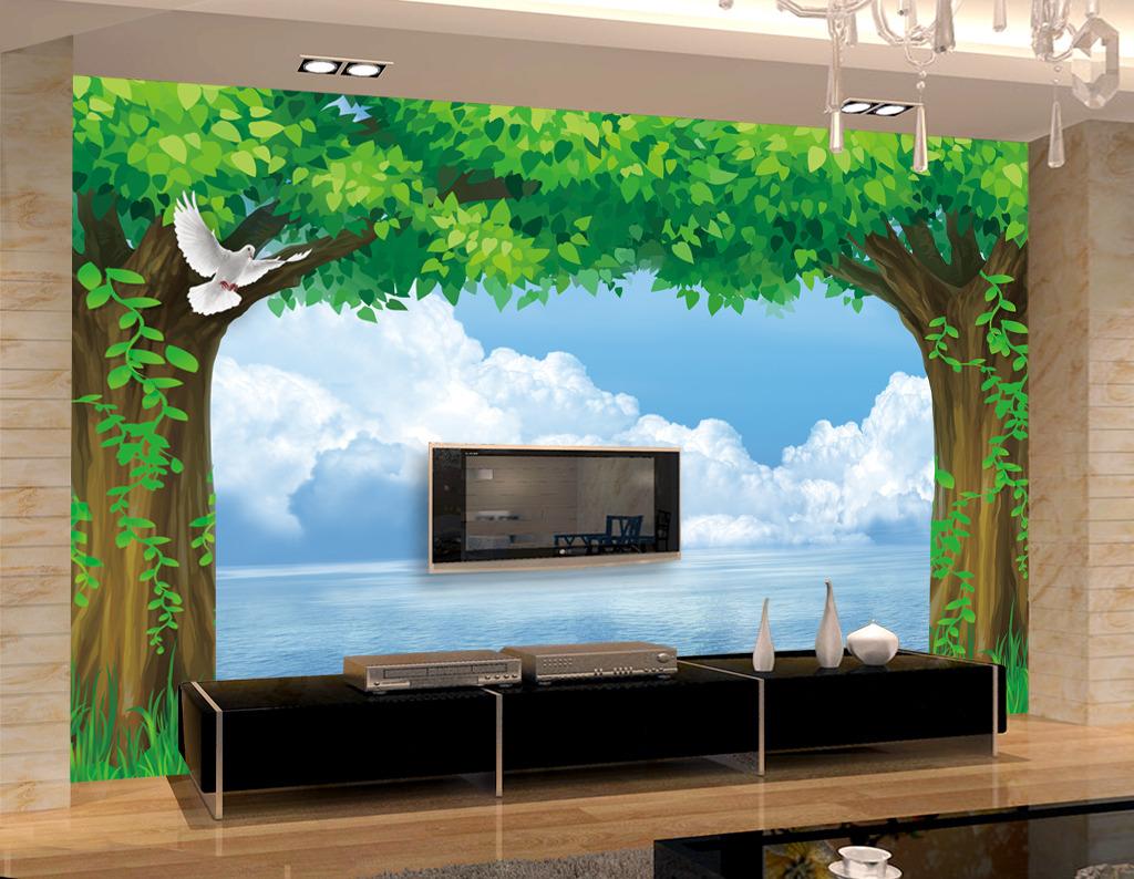 绿色森林电视背景墙