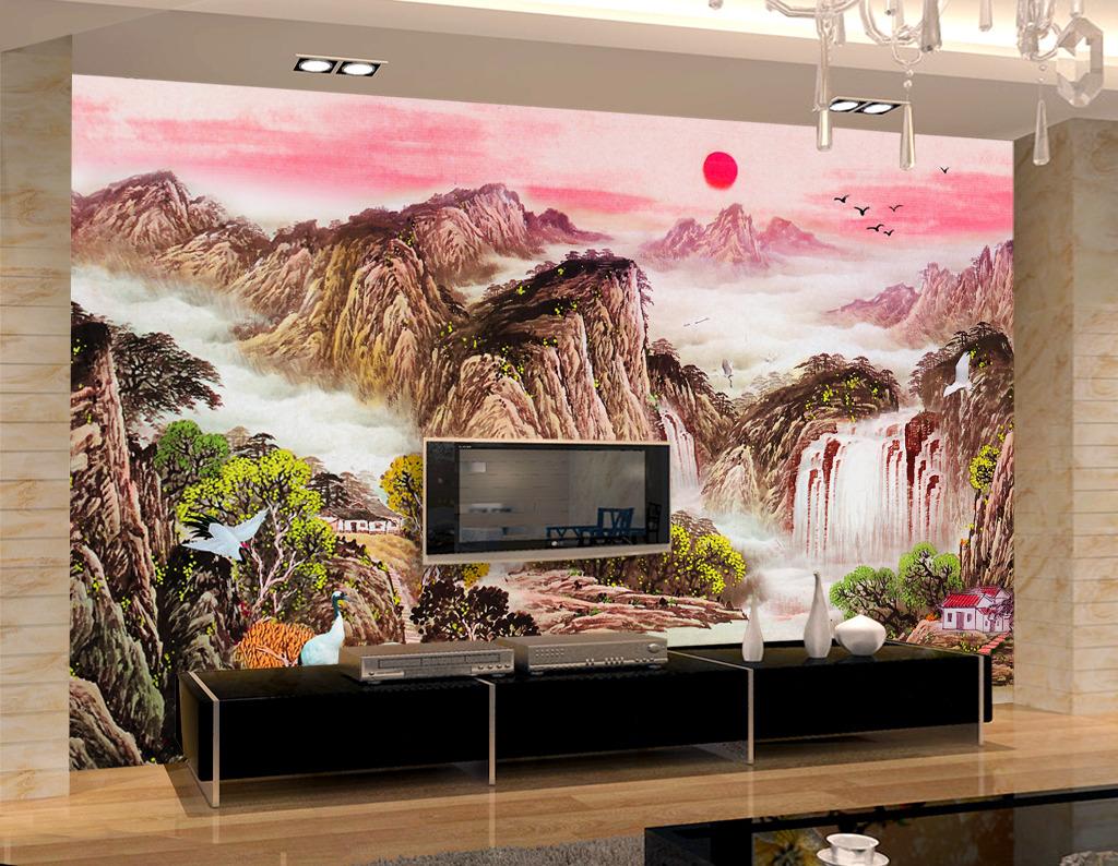 山水中国风电视背景墙
