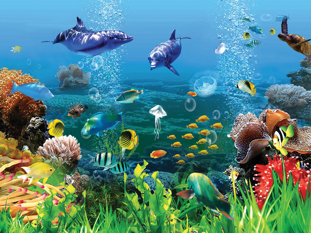 3d立体海底世界海底鲨鱼背景墙壁画图片