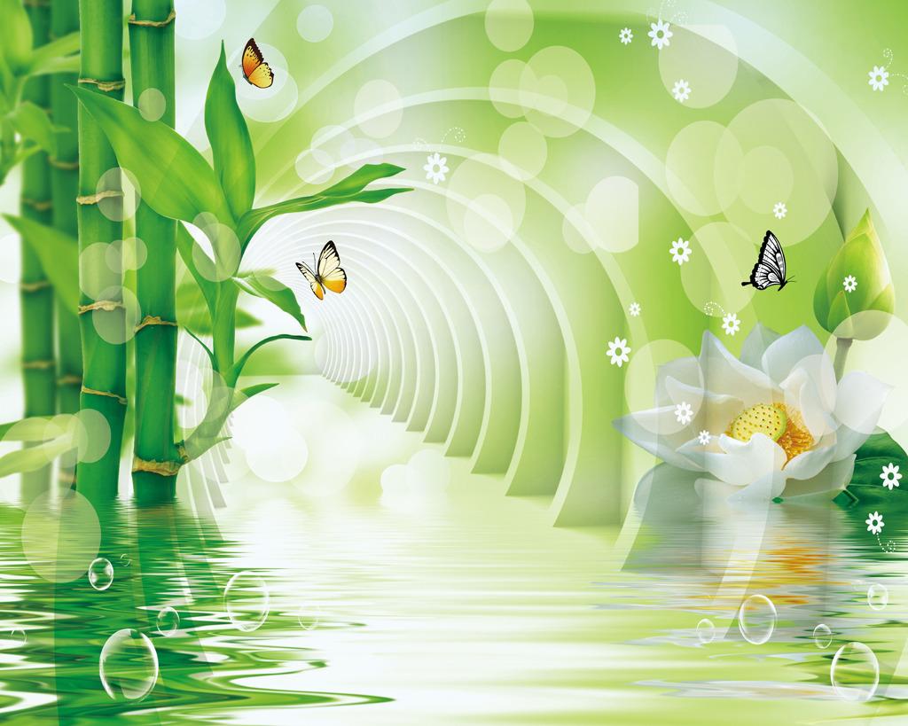 3d立体竹子荷花时尚背景墙壁画