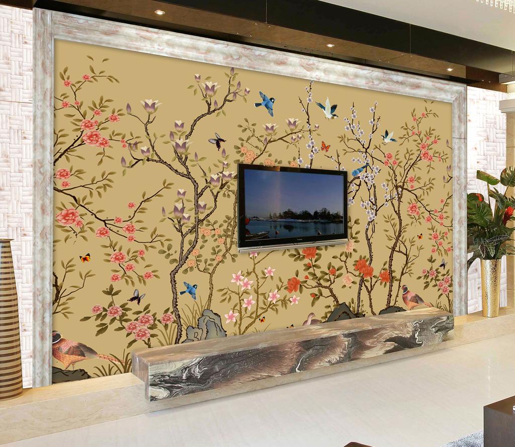 背景墙|装饰画 电视背景墙 中式电视背景墙 > 手绘花鸟手绘壁画花鸟图