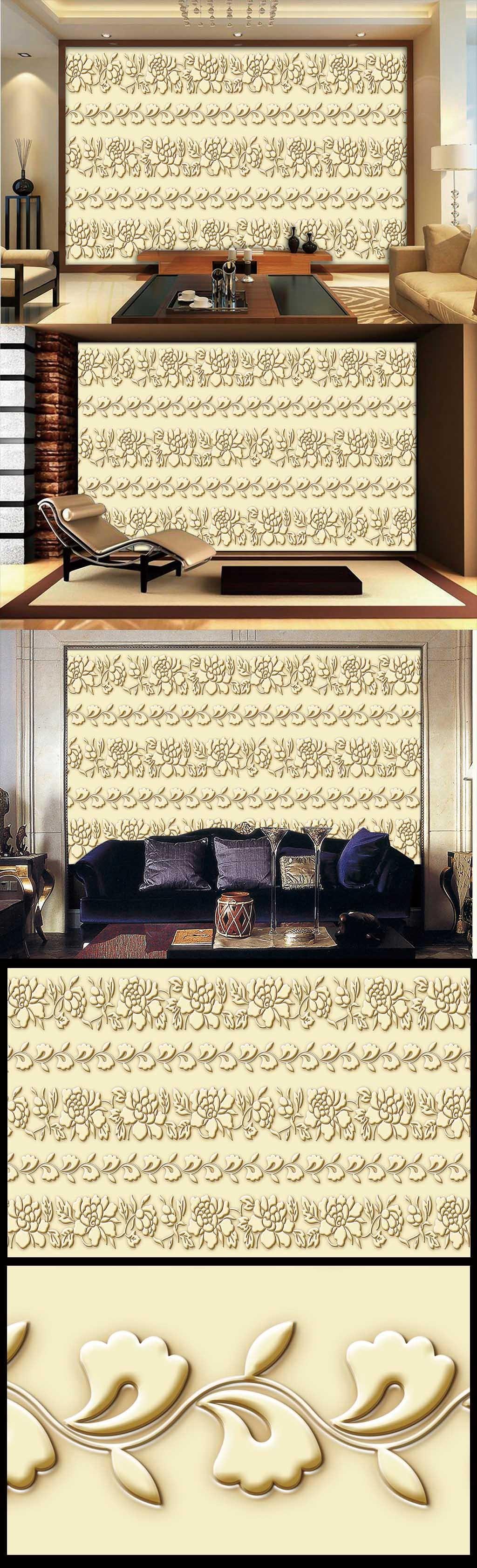 古典欧式简约风格花纹浮雕雕刻电视背景墙