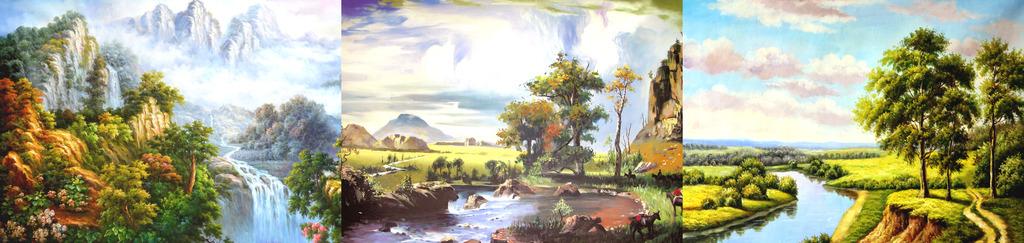 田园山水油画