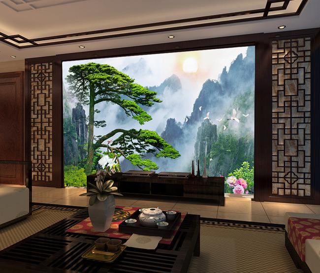 迎客松壁画背景墙酒店壁画风景画