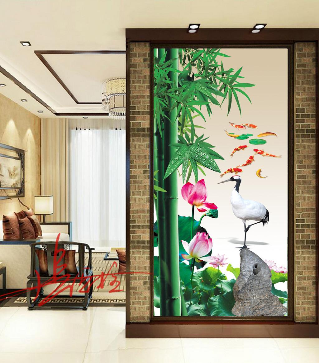 中式玄关门厅背景墙图片