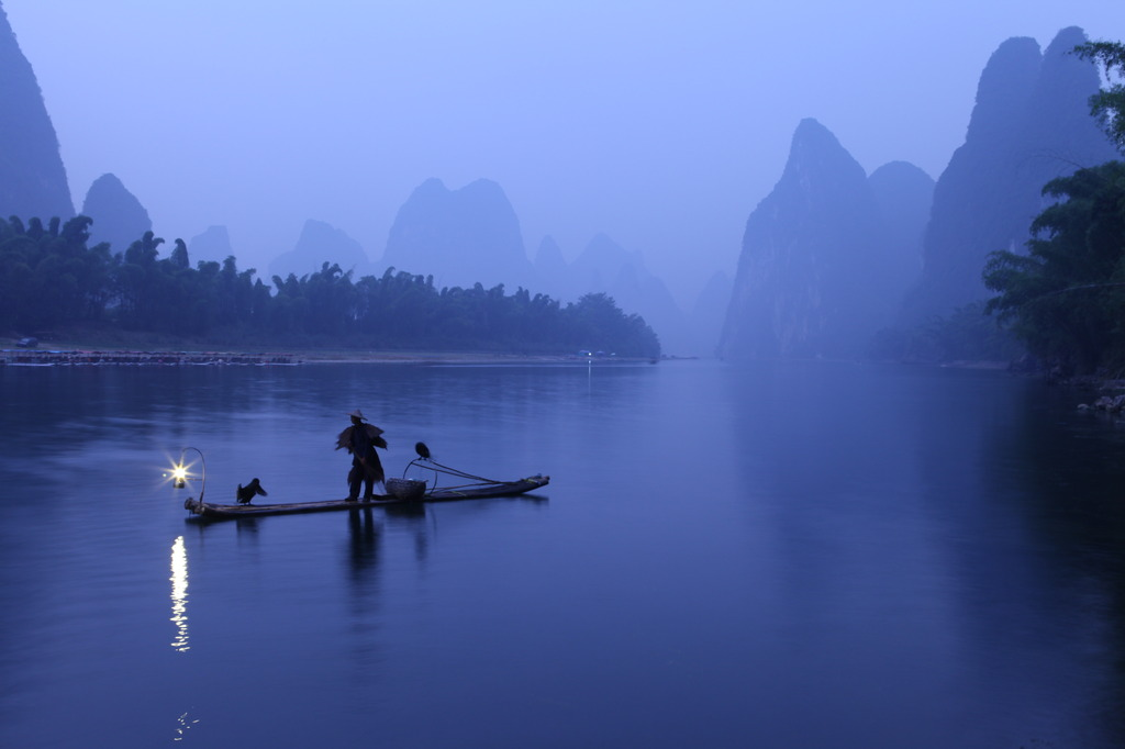 桂林山水漓江山水鸬鹚竹排竹筏