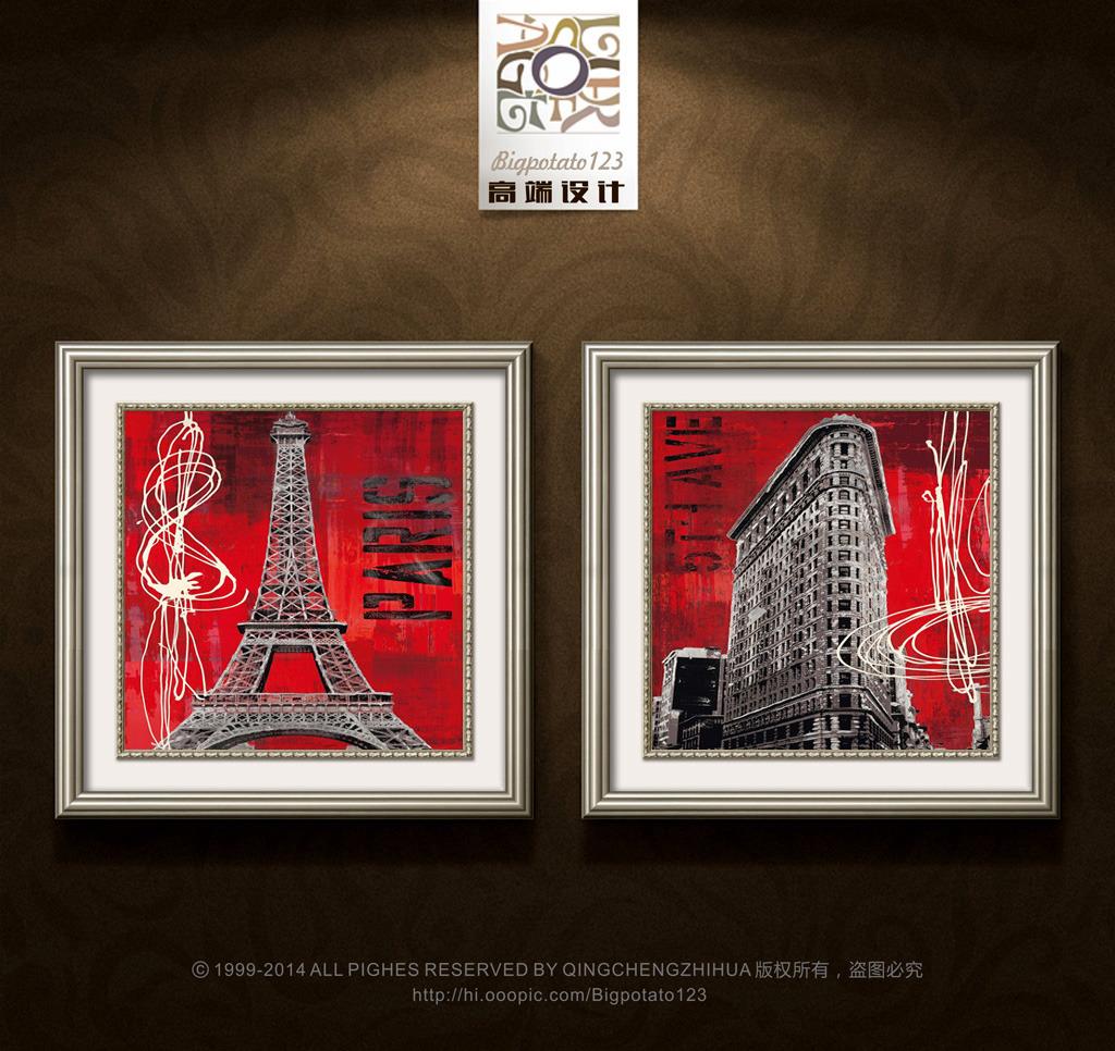 现代红底黑白建筑装饰画