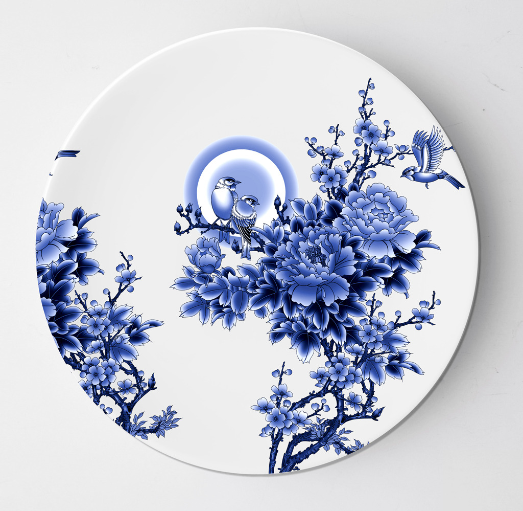 花鸟青花瓷盘子设计