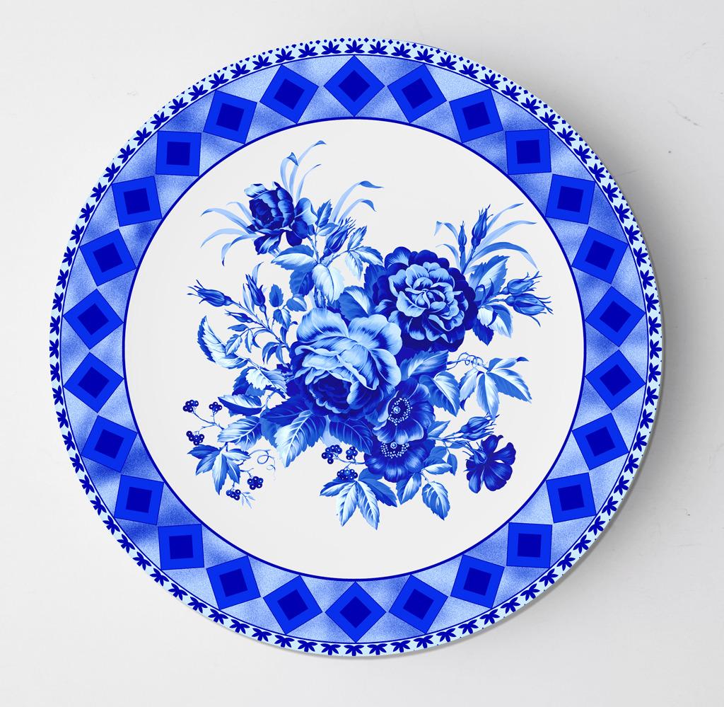 花边花朵青花瓷盘子设计