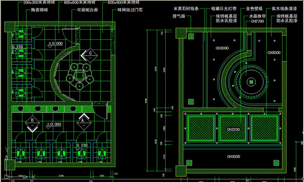 室内设计 cad图库 工装施工cad图纸 > 工装公共洗手间cad图纸设计