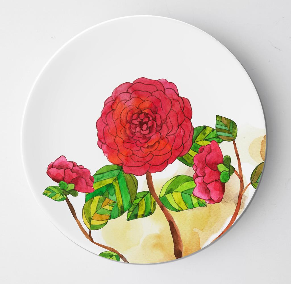 手绘红花陶瓷盘子设计