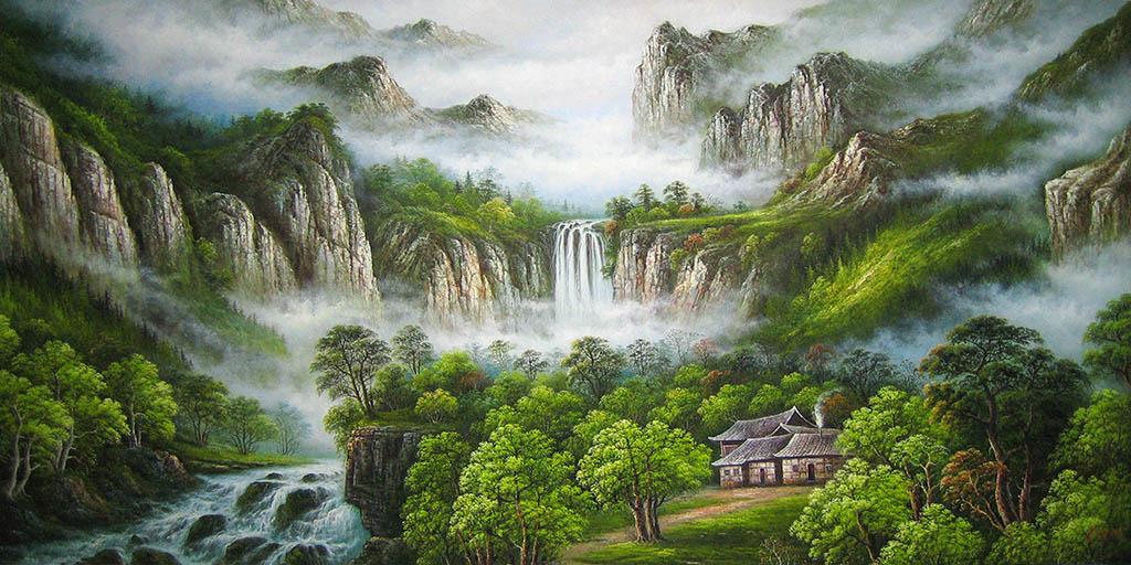 青山瀑布迎客松高山流水电视沙发客厅背景墙
