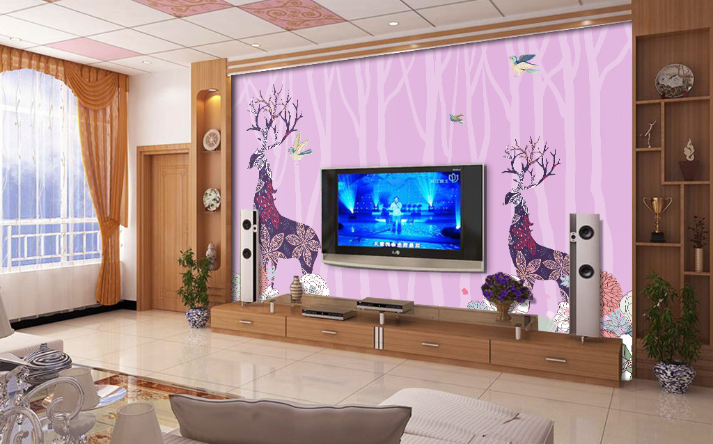 温馨简约鹿花客厅电视背景墙