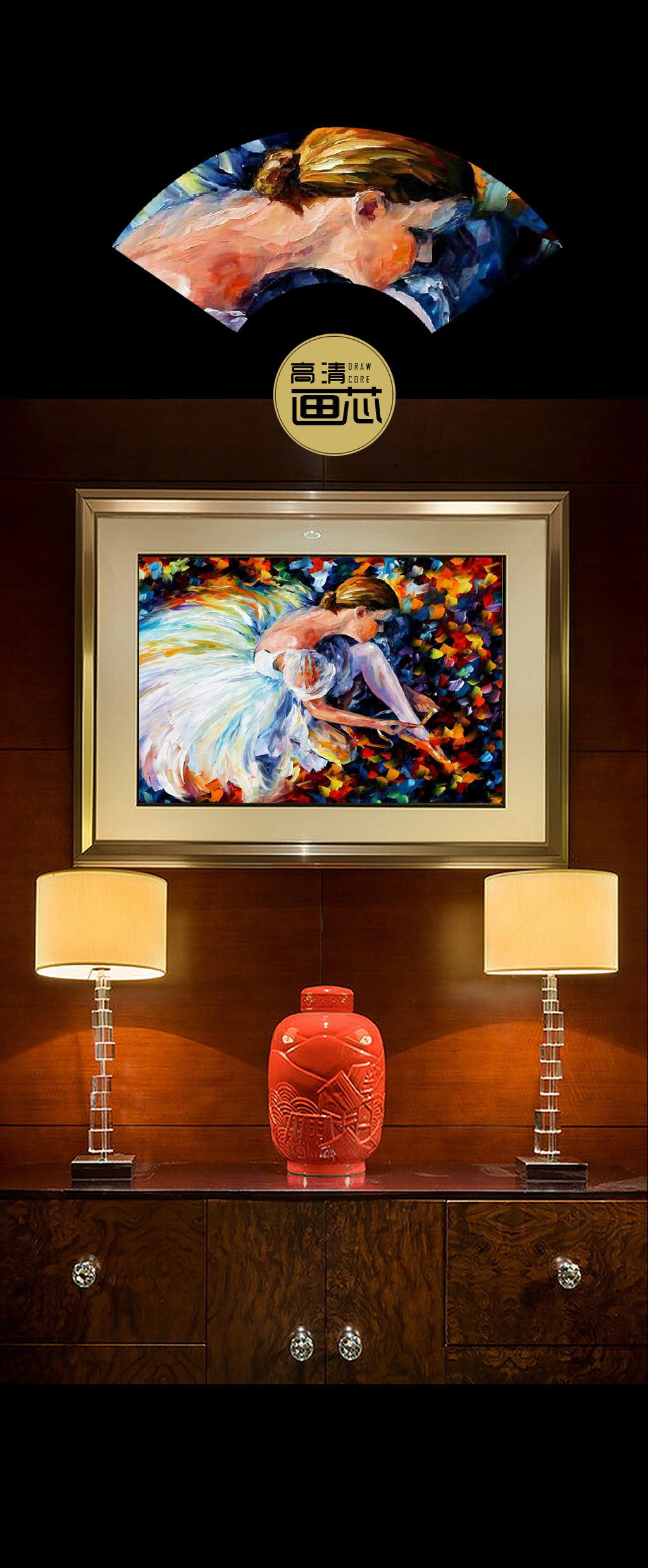 酒店现代芭蕾舞者油画手绘装饰画设计高清图片下载